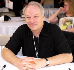 Joe R. Lansdale dressed for some black humour