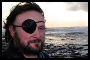 Laird Barron celebrating a piratical ancestry