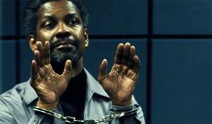 Denzel Washington giving a restrained performance