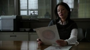 "Lucy Liu getting her first sight of the ""clue"""