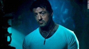Sylvester Stallone still acting the tough guy