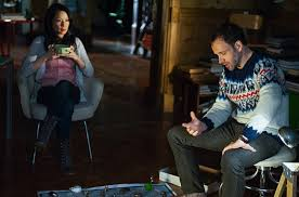 Lucy Liu and Jonny Lee Miller wrapped up warm for winter