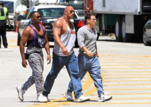 Anthony Mackie, Dwayne Johnson and Mark Wahlberg managing to cross the road