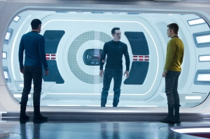 Zachary Quinto, Benedict Cumberbatch and Chris Pine size each other up