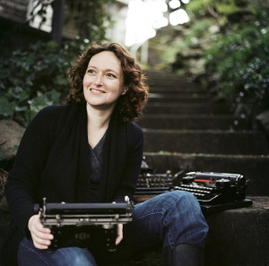 Mary Robinette Kowal with typewriter