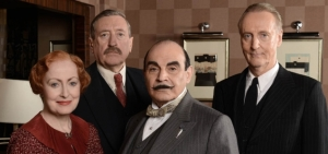 Hercule Poirot (David Suchet), Captain Hastings (Hugh Fraser), Miss Lemon (Pauline Moran) and Assistant Commisioner Japp (Philip Jackson)
