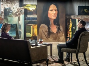 Natalie Dormer is back as Jamie Moriarty  with Jonny Lee Miller and Lucy Liu in oils.