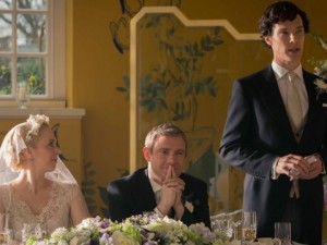 Benedict Cumberbatch, Martin Freeman and Amanda Abbington